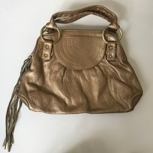 Gold/bronze leather Bulga bag.